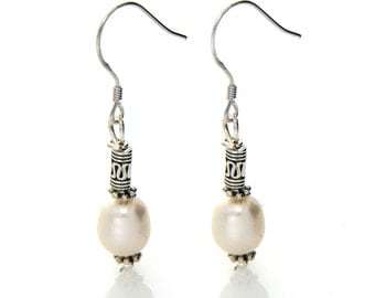 White Pearl Drop Earring, Tibitan Silver Earring, 925 Sterling Silver Hook Earring, Ethnic, Tribal, Antique Silver Earring, Dangle Earring