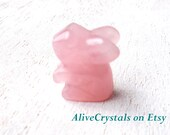 Healing Crystals and Stones, Carved Rose Quartz Crystal Figurines, Mini Soapstone, Tiny Animal Figurines, Cute Animals, Pink Bunny Statue