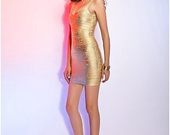Gold foil v- neck dress