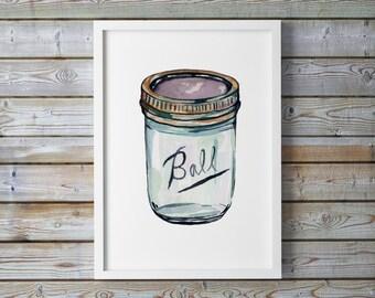 Ball Jar Illustration Print, Giclee Print, Kitchen Decor, Food Wall Art, Watercolor Print, Food Illustration. Ball jar.