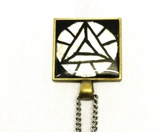 Black Pyramid Pendant with Stainless Steel Chain