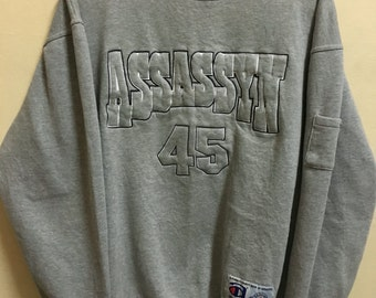 Vintage 90's Assassyn 45 Grey Classic Design Skate Sweat Shirt Sweater Varsity Jacket Size XXL #A368