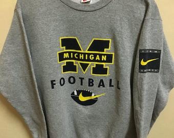 Vintage 90's Nike Michigan Just Do it Sport Classic Design Skate Sweat Shirt Sweater Varsity Jacket Size M #A399