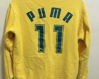 Vintage 90's Puma 11 Green Yellow Sport Classic Design Skate Sweat Shirt Sweater Varsity Jacket Size M #A173