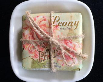 Re-purposed Soap Dish with Soap
