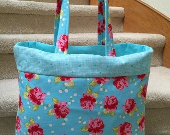 Roses on turquoise, tote, handmade