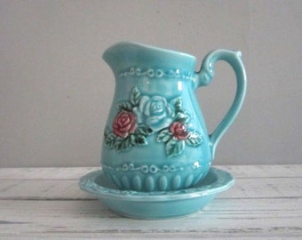 Vintage Norleans Japan Ceramic Pitcher Creamer With Dish Blue Roses