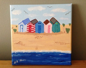 Beach Huts Canvas 8x8 Inches