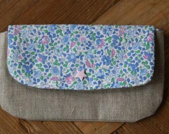 Linen and cotton blue flowered bag