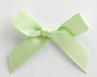 Satin Ribbon Pre Tied 3cm Bows - 100 Pack - Light Green
