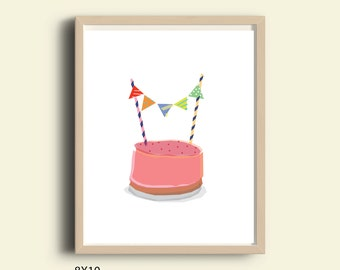 Party art print, birthday art print, birthday cakes, printable birthday cake art print, birthday art, drawing of cakes, cute, birthday sign