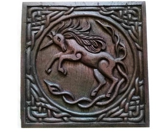 Stunning Celtic Unicorn in wood effect, wall plaque ready to hang
