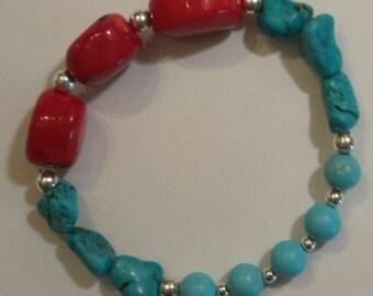 Dyed Turquoise Stretch Bracelet