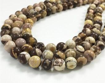 8mm Zebra Jasper Beads, Round Gemstone Beads, Wholesale Beads