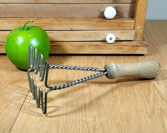 Vintage Masher with Wooden Handle Farmhouse Rustic Kitchen Utensils Potato Masher Country Photo Prop