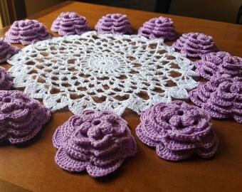 Roses doily, rose doily, lilac doily, crochet rose doily, crocheted roses doily, round crocheted doily, 3 dimension roses, 3 dimension doily