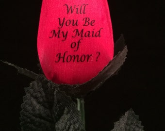 Will You Be and Thank You for Being My Maid of Honor Wooden Rose Keepsake
