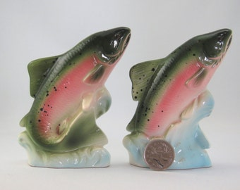 Rainbow trout porcelain salt and pepper shakers