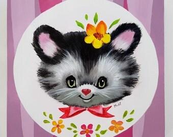 Retro cat with flower