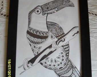 Toucan Zantangle Drawing - Wall Art - Home Decor - Gift