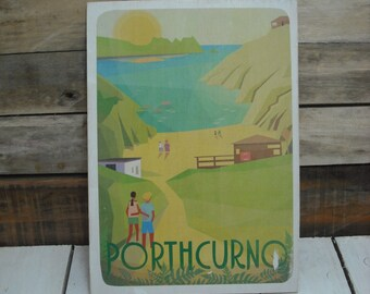 A4 wood print : Porthcurno