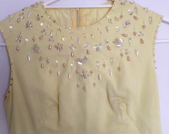 1960s Handmade Lemon Yellow Beaded Evening Dress Vintage