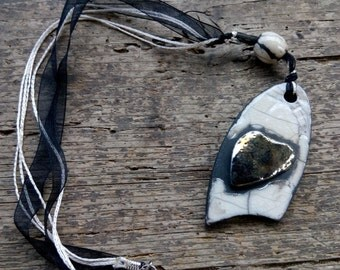 Raku necklace double face