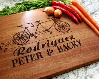 Personalized Cutting Board - Engraved Cutting Board, Custom Cutting Board, Wedding Gift, Housewarming Gift, Anniversary, Bicycle W-024 GB
