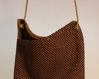 Large Fabric Bag in Brown Zigzag Item #B77