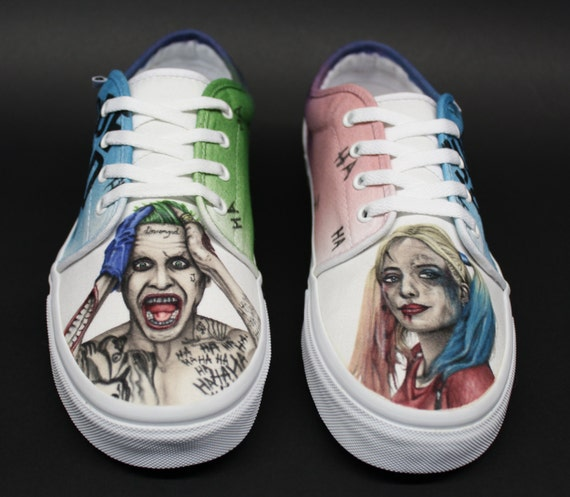 chaussures peintes sur mesure vans suicide squad joker et. Black Bedroom Furniture Sets. Home Design Ideas