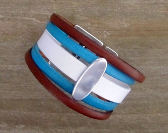 Cuff leather White Camel Turquoise, Passant silver, magnetic clasp bracelet