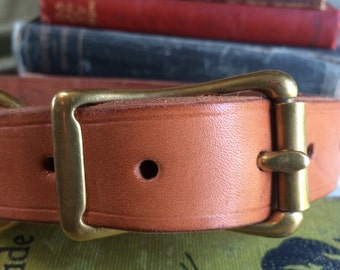 Large Natural Leather Dog Collar