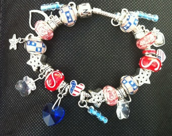 Stars and Stripes American pride Mickey Pandora inspired charm bracelet 7 1/2""