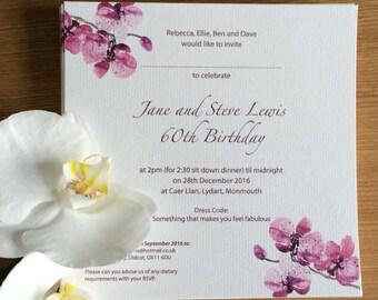 Floral wedding invite - orchid wedding invite - floral birthday invite - Floral - orchids - wedding invitation - birthday invitation