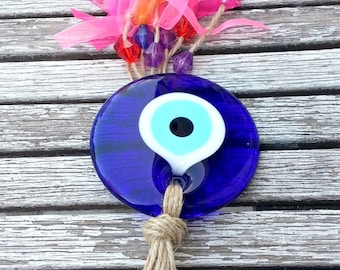 Evileye Nazarlik wall hanging and colorful ribbons and beads handmade and glass made