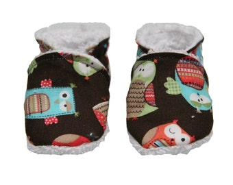 Slippers 100% organic cotton owls/Slippers biologic Cotton
