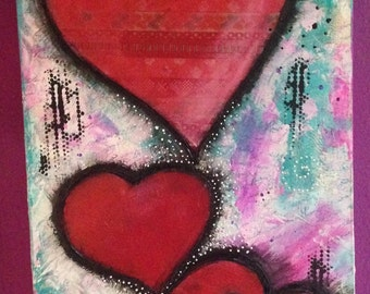 Picture of hearts art. Love. Heart. Mixmedia