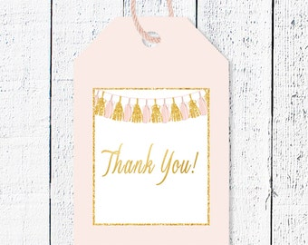 Pink & Gold Baby Shower Favor Tags, Thank you tags, Printable favor tag, Baby shower thanks, Baby shower party decor, Gold  favor tag, Tas-1