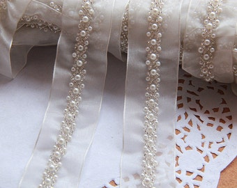 "2 yard 1cm 0.39"" wide ivory beads mesh tulle lace trim ribbon tapes 43g3plm free ship"