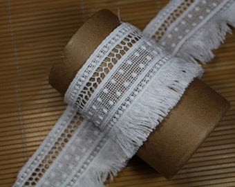 "5 yard 7cm 2.75"" wide white tassels fringe lace trim ribbon L17K2 free ship"
