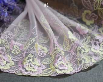 "5 yard 18cm 7.08"" wide blue/green/pink mesh embroidery lace trim trims ribbon L22K170 free ship"