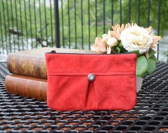 Red Suede Clutch, Suede & Leather Clutch, Red Suede Purse, Nitabag