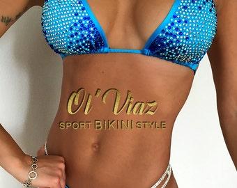 Blue Satin Spandex Bikini Suit with Rhinestone /Competition Suit/Posing Suit/Rhinestone Fitness