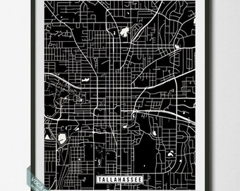 Tallahassee Print, Florida Poster, Tallahassee Poster, Tallahassee Map, Florida Print, Street Map, Florida Map, Independence Day
