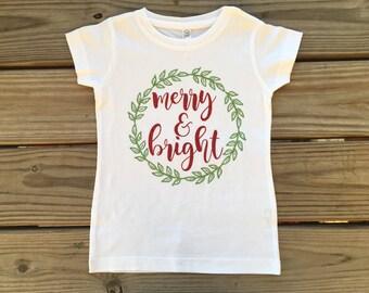 Girl's Merry and Bright Christmas Shirt