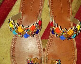 kiboko maasai sandals /beaded sandals /tribal sandals