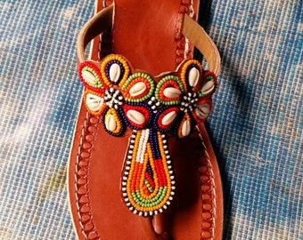 pamoja maasai sandals / tribal sandals / beaded sandals / leather sandals