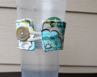 Blue Flower Over sized Reusable Cup Cozy