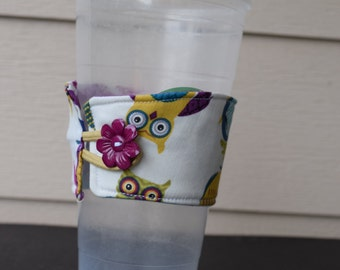 Owl Print Over sized Reusable Cup Cozy