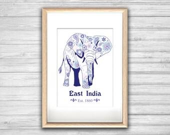 Affiche EAST INDIA  - Poster Elephant Inde Cachemire Hippie - affiche deco, impression art, Illustration, Art mural, illustration tendance